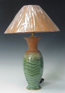 Lamp using Wavy Pattern in Transparent Emerald Green