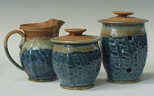 Creamer, Sugar Bowl & Garlic Keeper using Vertical Pattern in Transparent Cobalt Blue