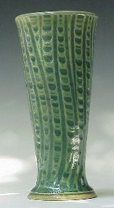 Vase using Vertical Pattern in Transparent Emerald Green