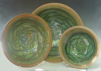 Bowls using Flower Pattern in Transparent Emerald Green